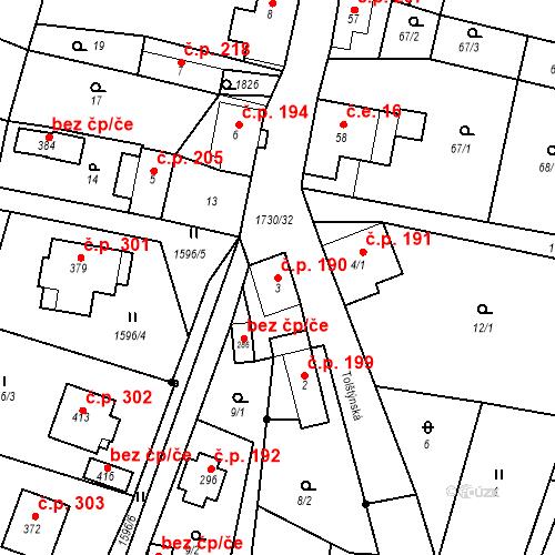 Katastrální mapa Stavební objekt Jiřetín pod Jedlovou 190, Jiřetín pod Jedlovou