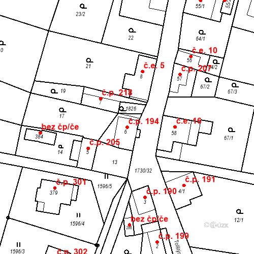 Katastrální mapa Stavební objekt Jiřetín pod Jedlovou 194, Jiřetín pod Jedlovou