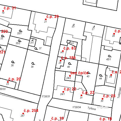 Katastrální mapa Stavební objekt Jiřetín pod Jedlovou 186, Jiřetín pod Jedlovou