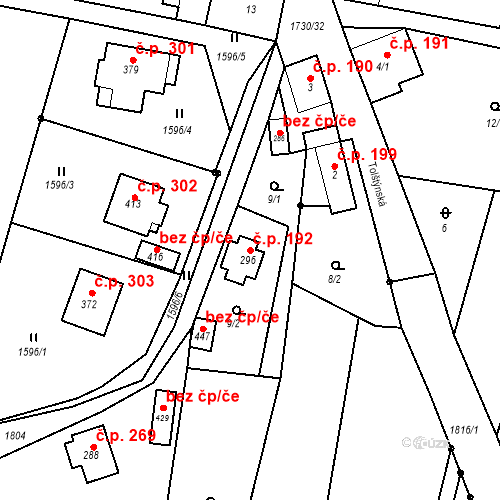 Katastrální mapa Stavební objekt Jiřetín pod Jedlovou 192, Jiřetín pod Jedlovou