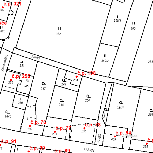 Katastrální mapa Stavební objekt Jiřetín pod Jedlovou 198, Jiřetín pod Jedlovou