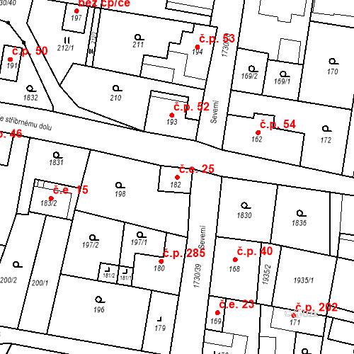 Katastrální mapa Stavební objekt Jiřetín pod Jedlovou 25, Jiřetín pod Jedlovou