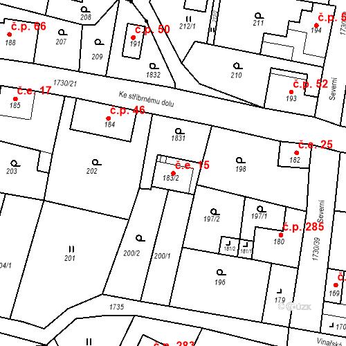 Katastrální mapa Stavební objekt Jiřetín pod Jedlovou 15, Jiřetín pod Jedlovou
