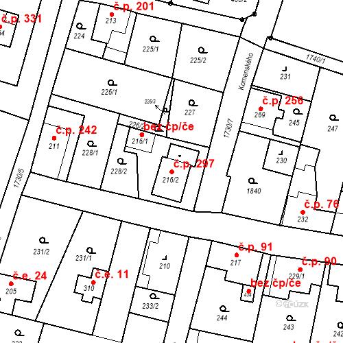 Katastrální mapa Stavební objekt Jiřetín pod Jedlovou 297, Jiřetín pod Jedlovou