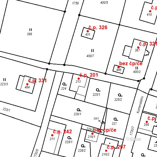 Katastrální mapa Stavební objekt Jiřetín pod Jedlovou 201, Jiřetín pod Jedlovou