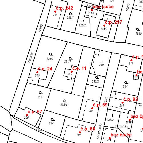 Katastrální mapa Stavební objekt Jiřetín pod Jedlovou 11, Jiřetín pod Jedlovou