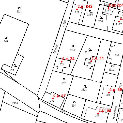 Katastrální mapa Stavební objekt Jiřetín pod Jedlovou 24, Jiřetín pod Jedlovou