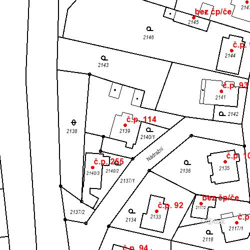Katastrální mapa Stavební objekt Staré Splavy 114, Doksy