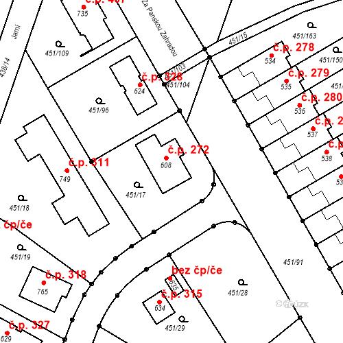 Katastrální mapa Stavební objekt Horoušánky 272, Horoušany