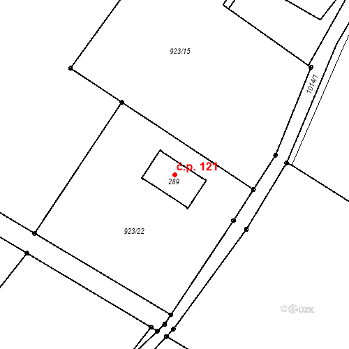 Katastrální mapa Stavební objekt Svojkov 121, Svojkov