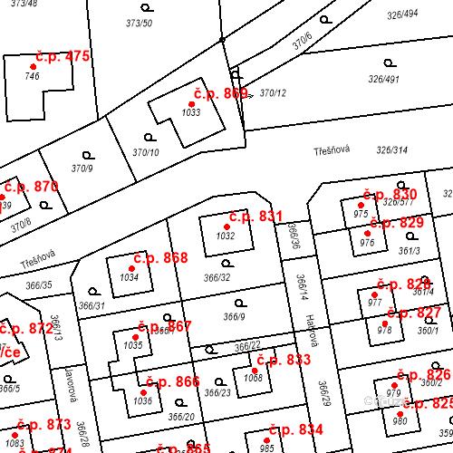 Katastrální mapa Stavební objekt Nehvizdy 831, Nehvizdy