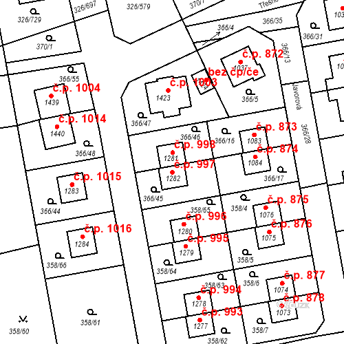 Katastrální mapa Stavební objekt Nehvizdy 997, Nehvizdy