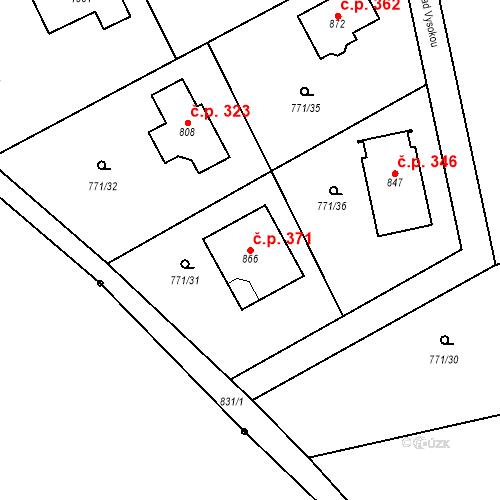 Katastrální mapa Stavební objekt Mukařov 371, Mukařov