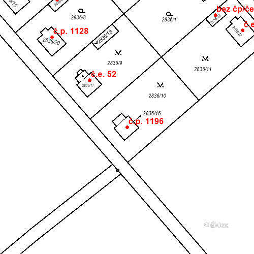 Katastrální mapa Stavební objekt Stará Boleslav 1196, Brandýs nad Labem-Stará Boleslav