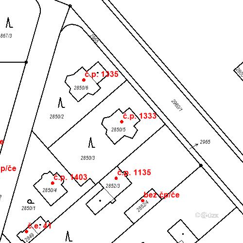 Katastrální mapa Stavební objekt Stará Boleslav 1333, Brandýs nad Labem-Stará Boleslav