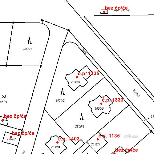Katastrální mapa Stavební objekt Stará Boleslav 1335, Brandýs nad Labem-Stará Boleslav