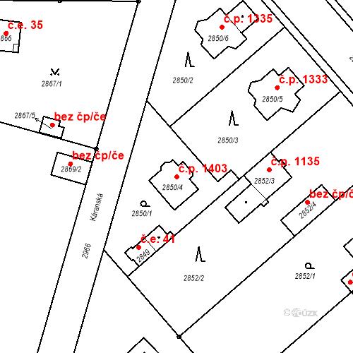 Katastrální mapa Stavební objekt Stará Boleslav 1403, Brandýs nad Labem-Stará Boleslav