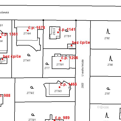 Katastrální mapa Stavební objekt Stará Boleslav 1206, Brandýs nad Labem-Stará Boleslav