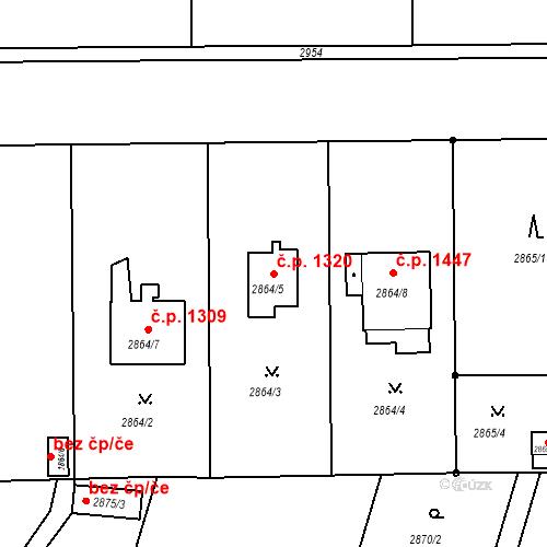 Katastrální mapa Stavební objekt Stará Boleslav 1320, Brandýs nad Labem-Stará Boleslav