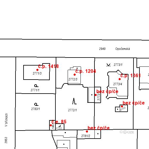 Katastrální mapa Stavební objekt Stará Boleslav 1204, Brandýs nad Labem-Stará Boleslav