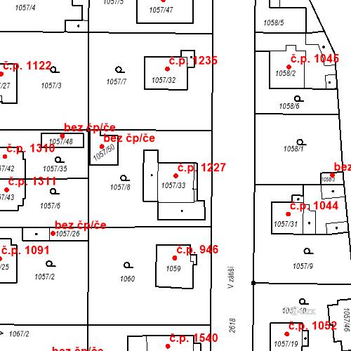 Katastrální mapa Stavební objekt Stará Boleslav 1227, Brandýs nad Labem-Stará Boleslav