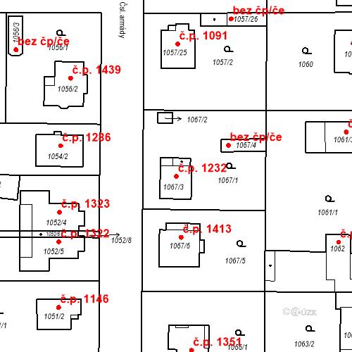 Katastrální mapa Stavební objekt Stará Boleslav 1232, Brandýs nad Labem-Stará Boleslav