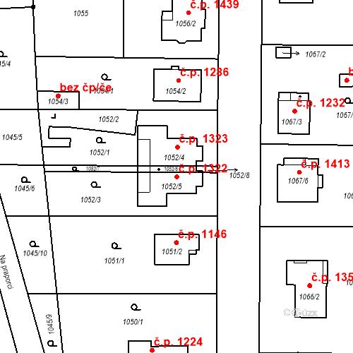 Katastrální mapa Stavební objekt Stará Boleslav 1322, Brandýs nad Labem-Stará Boleslav