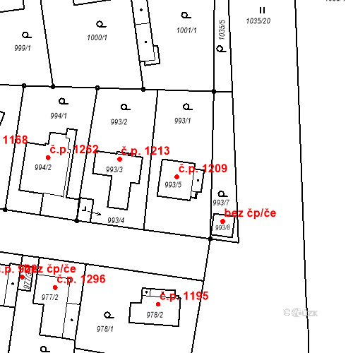 Katastrální mapa Stavební objekt Stará Boleslav 1209, Brandýs nad Labem-Stará Boleslav