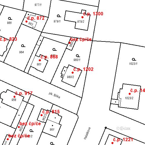 Katastrální mapa Stavební objekt Stará Boleslav 1202, Brandýs nad Labem-Stará Boleslav