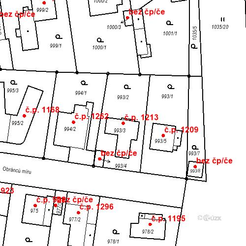 Katastrální mapa Stavební objekt Stará Boleslav 1213, Brandýs nad Labem-Stará Boleslav