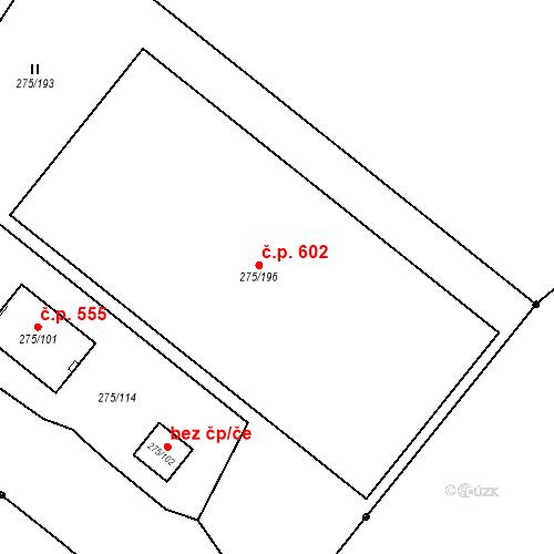 Katastrální mapa Stavební objekt České Velenice 602, České Velenice