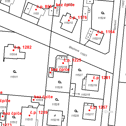 Katastrální mapa Stavební objekt Stará Boleslav 1223, Brandýs nad Labem-Stará Boleslav
