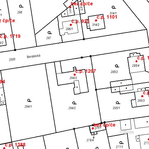 Katastrální mapa Stavební objekt Stará Boleslav 1207, Brandýs nad Labem-Stará Boleslav