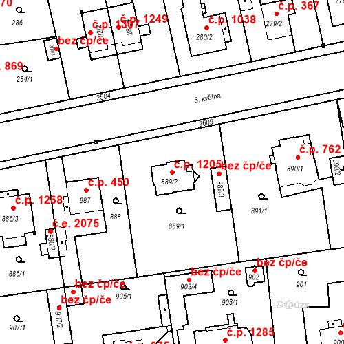 Katastrální mapa Stavební objekt Stará Boleslav 1205, Brandýs nad Labem-Stará Boleslav