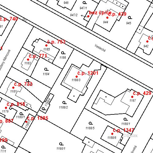 Katastrální mapa Stavební objekt Stará Boleslav 1201, Brandýs nad Labem-Stará Boleslav