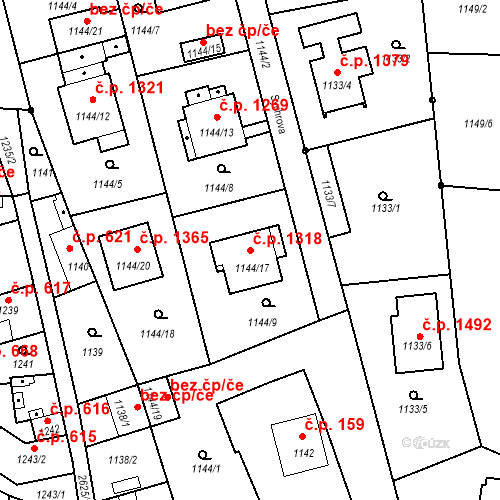 Katastrální mapa Stavební objekt Stará Boleslav 1318, Brandýs nad Labem-Stará Boleslav