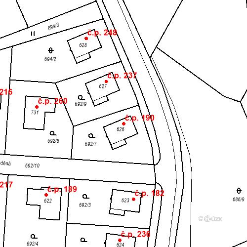 Katastrální mapa Stavební objekt Tehovec 190, Tehovec