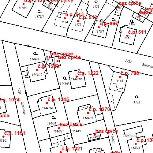 Katastrální mapa Stavební objekt Stará Boleslav 1222, Brandýs nad Labem-Stará Boleslav