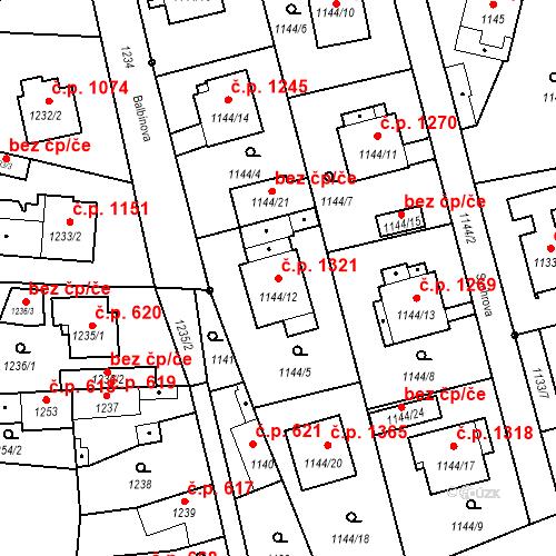 Katastrální mapa Stavební objekt Stará Boleslav 1321, Brandýs nad Labem-Stará Boleslav