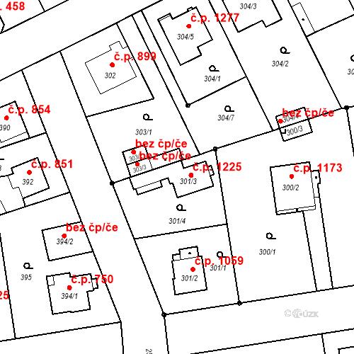 Katastrální mapa Stavební objekt Stará Boleslav 1225, Brandýs nad Labem-Stará Boleslav