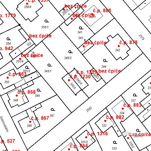 Katastrální mapa Stavební objekt Stará Boleslav 1229, Brandýs nad Labem-Stará Boleslav