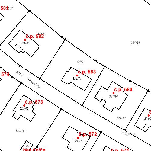 Katastrální mapa Stavební objekt České Velenice 583, České Velenice