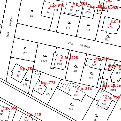Katastrální mapa Stavební objekt Stará Boleslav 1228, Brandýs nad Labem-Stará Boleslav