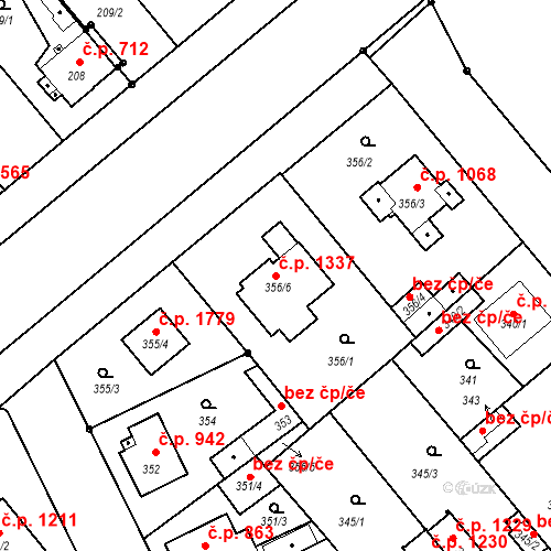 Katastrální mapa Stavební objekt Stará Boleslav 1337, Brandýs nad Labem-Stará Boleslav