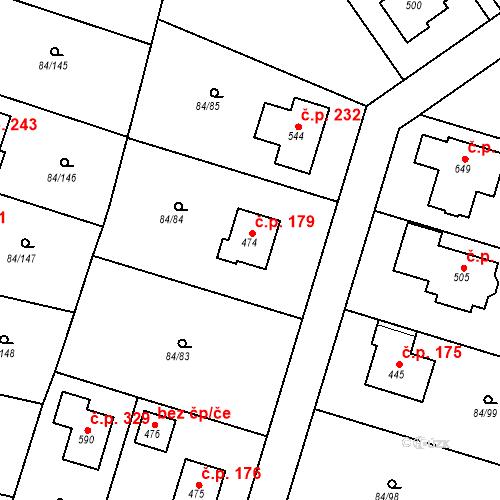 Katastrální mapa Stavební objekt Babice 179, Babice