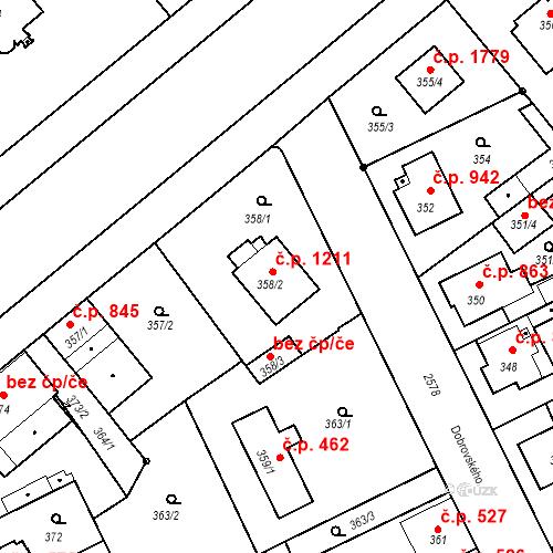 Katastrální mapa Stavební objekt Stará Boleslav 1211, Brandýs nad Labem-Stará Boleslav