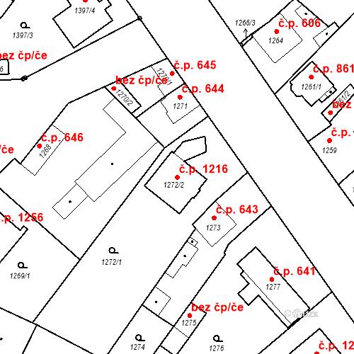 Katastrální mapa Stavební objekt Stará Boleslav 1216, Brandýs nad Labem-Stará Boleslav