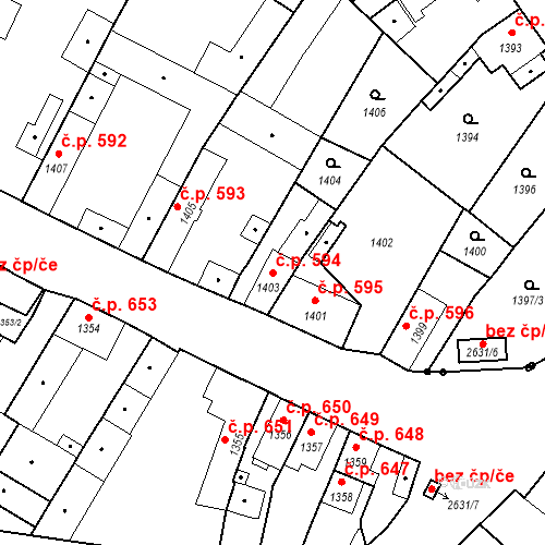 Katastrální mapa Stavební objekt Stará Boleslav 594, Brandýs nad Labem-Stará Boleslav