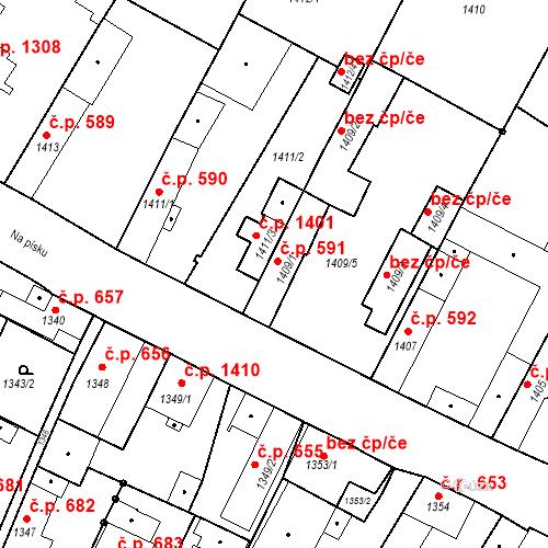 Katastrální mapa Stavební objekt Stará Boleslav 591, Brandýs nad Labem-Stará Boleslav