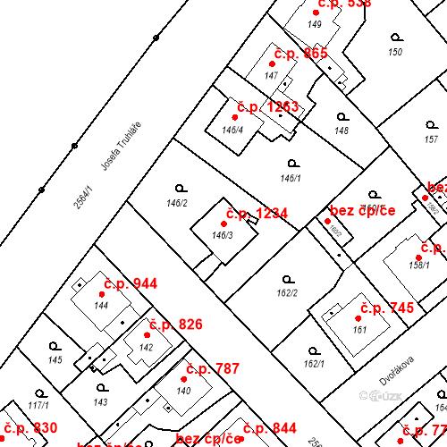 Katastrální mapa Stavební objekt Stará Boleslav 1234, Brandýs nad Labem-Stará Boleslav